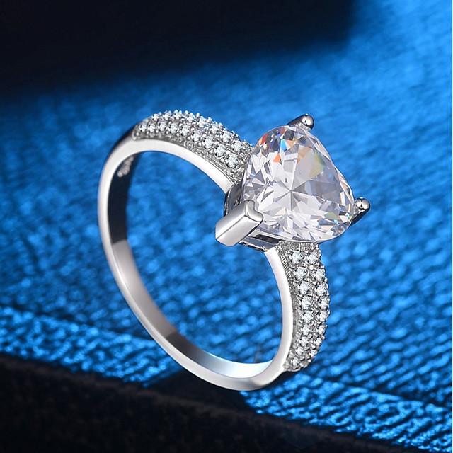 خاتم ستايل فضي نحاس مطلي بالبلاتينيوم تقليد الماس السويد سيدات أنيق شائع 1PC 5 6 7 8 9 / نسائي