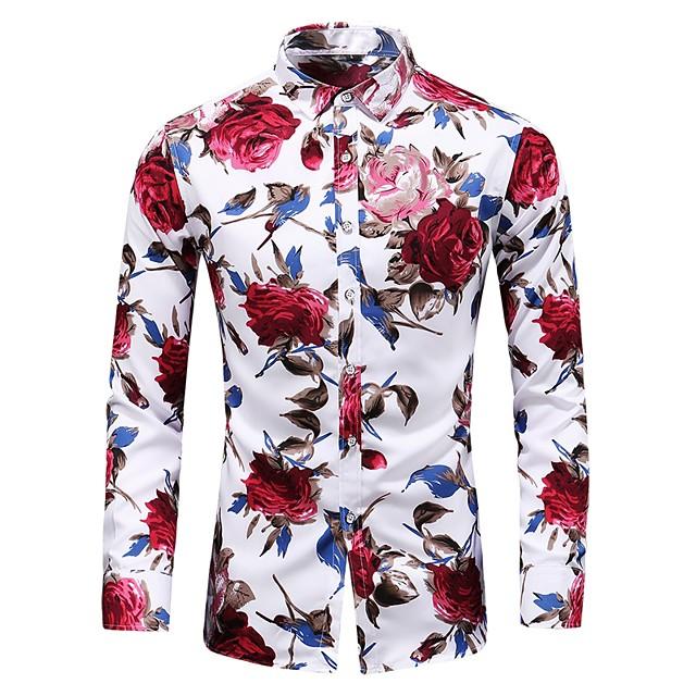 رجالي ورد قياس كبير قميص طباعة كم طويل مناسب للبس اليومي نحيل قمم أساسي عتيق أسود أزرق أحمر