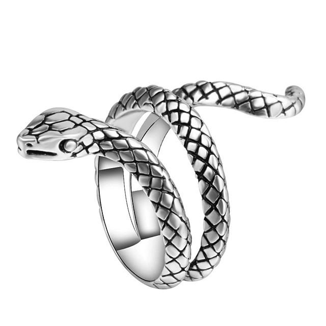 Statement-Ring Skulptur Silber Aleación Schlange Tier Retro Punk Modisch 1pc 7 8 9 1 / Herrn
