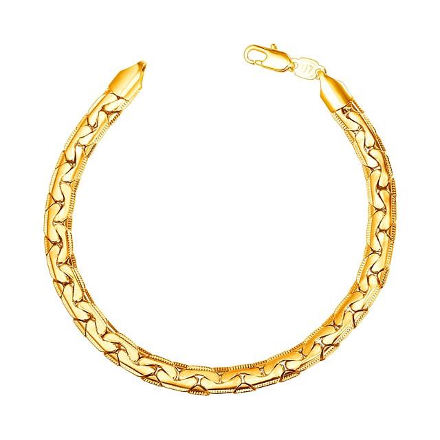 رجالي أسورة سلسلة سميكة موضة نحاس مجوهرات سوار أسود / ذهبي / فضي من أجل هدية مناسب للبس اليومي