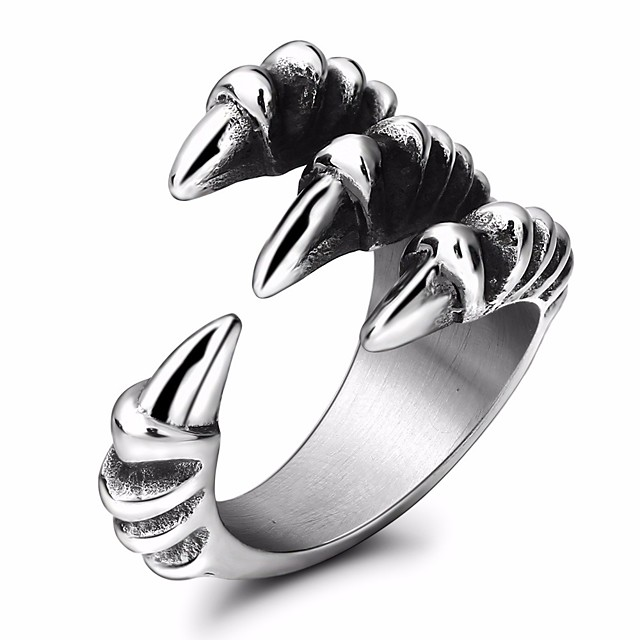 خاتم البيان ستايل فضي الصلب التيتانيوم تنين عبارة أنيق 1PC 7 8 9 10 11 / رجالي / الذيل الدائري