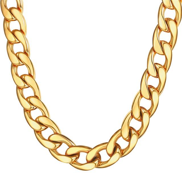 رجالي قلادات السلسلة سلسلة سميكة سلسلة مارينر غلو موضة دبي هيب هوب الفولاذ المقاوم للصدأ أسود ذهبي فضي 55 cm قلادة مجوهرات 1PC من أجل هدية مناسب للبس اليومي
