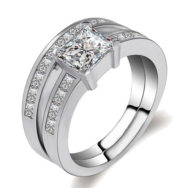 Ring-Set Mehrlagig Silber Messing Platiert Diamantimitate Krone Vorstellen damas Klassisch Romantisch 2pcs 6 7 8 9 1 / Damen