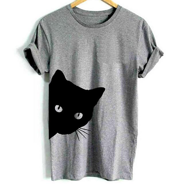남성용 그래픽 동물 T 셔츠 짧은 소매 일상 탑스 베이직 라운드 넥 화이트 블랙 그레이