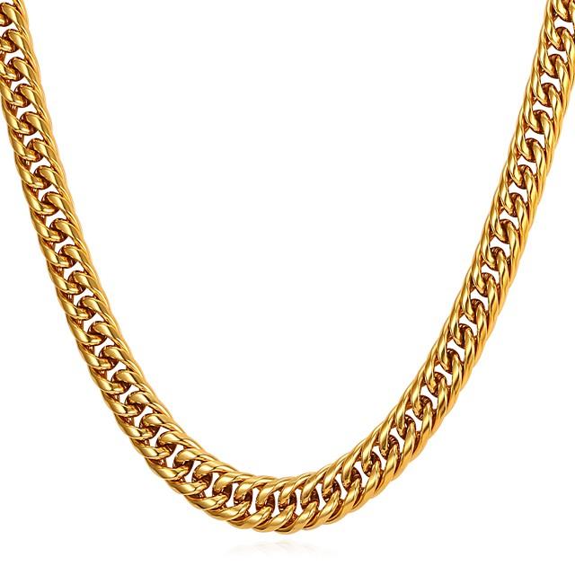 رجالي قلادات السلسلة سلسلة سميكة سلسلة الثعلب سلسلة فرانكو شائع موضة الفولاذ المقاوم للصدأ أسود ذهبي فضي 55 cm قلادة مجوهرات 1PC من أجل هدية مناسب للبس اليومي