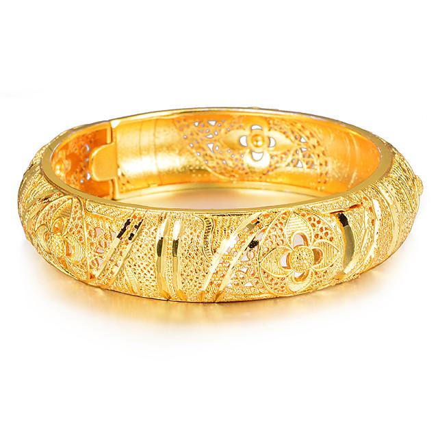 نسائي أساور أساور اصفاد أشكال النحت سيدات عرقي ايطالي مطلية بالذهب مجوهرات سوار ذهبي من أجل مناسب للحفلات هدية