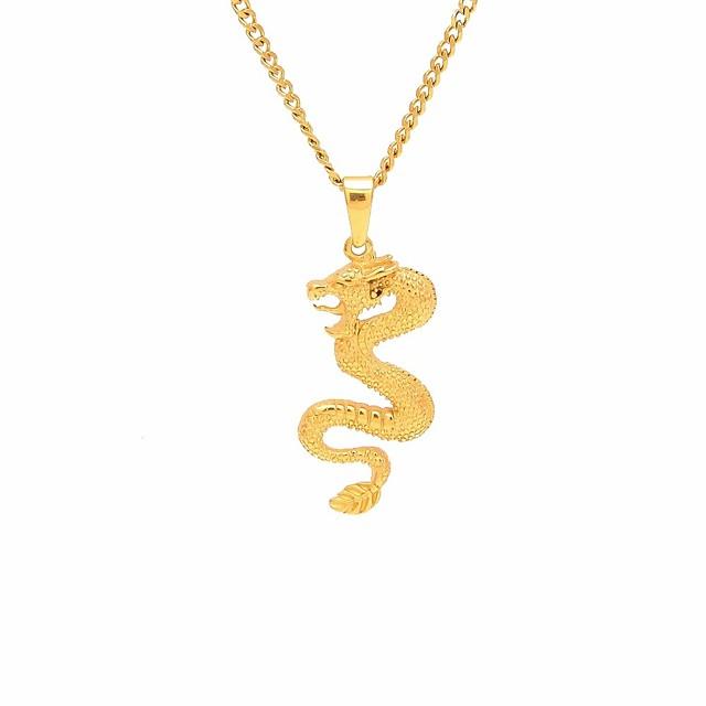 رجالي قلائد الحلي قلادات السلسلة ستايل تنين خلاق الآسيوي أوروبي شائع هيب هوب ستانلس ستيل أصفر ذهبي 60 cm قلادة مجوهرات 1PC من أجل هدية شارع