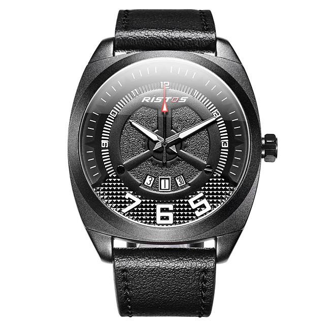 رجالي ساعة فستان ساعة المعصم كوارتز كلاسيكي مقاوم للماء رقمي أسود-أحمر أسود-أسمر أسود / أبيض / جلد طبيعي / LCD / جلد طبيعي