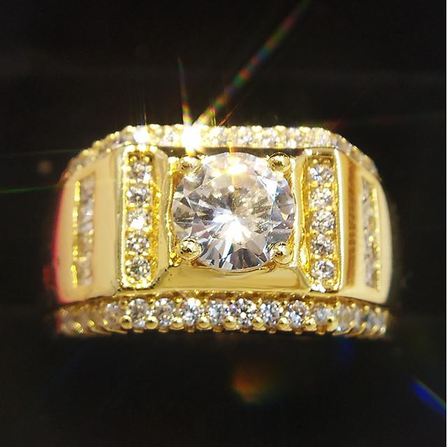 خاتم كلاسيكي ذهبي مطلية بالذهب عيار 18 نحاس تقليد الماس ثمين كلاسيكي موضة هيب هوب 1PC 7 8 9 10 11 / رجالي / خاتم الوعد / سوليتير