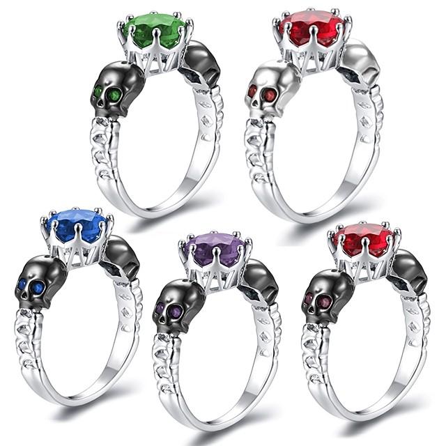 خاتم أزرق ياقوتي ستايل أرجواني أحمر أزرق نحاس مطلي بالبلاتينيوم تقليد الماس جمجمة سيدات بانغك هيب هوب 1PC 6 7 8 9 / نسائي