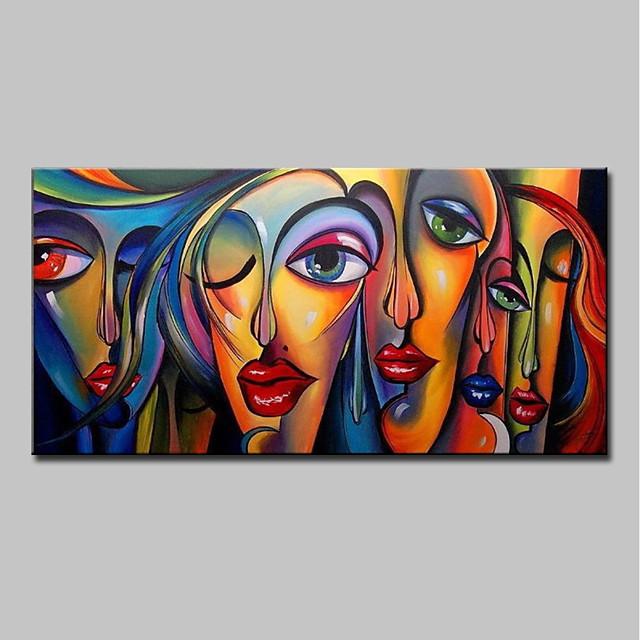 Hang oslikana uljanim bojama Ručno oslikana - Ljudi Pop art Moderna Bez unutrašnje Frame / Valjani platno
