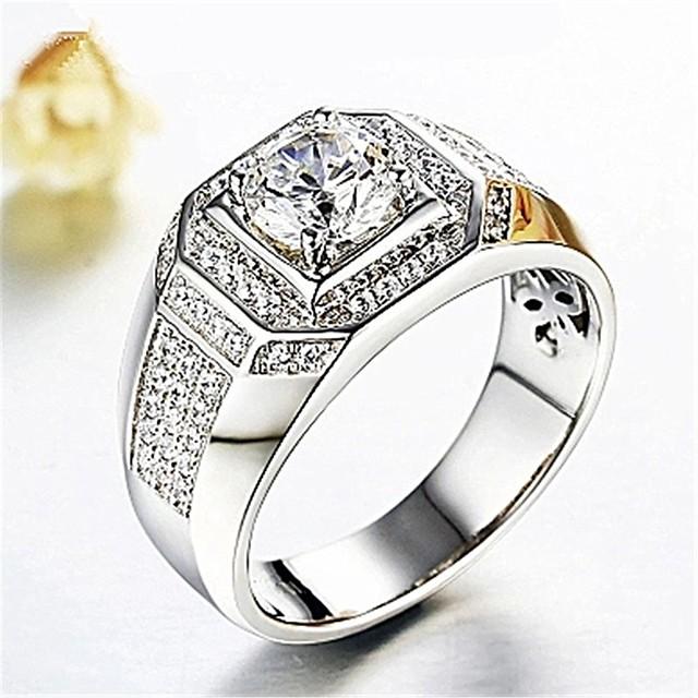Кольцо 3D Серебряный Медь Искусственный бриллиант Стиль Классика 1шт 8 9 10 / Муж. / Пасьянс