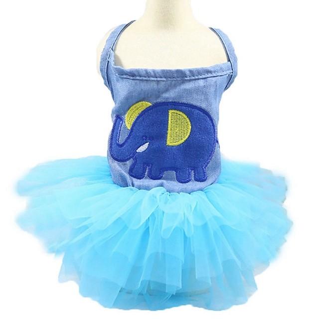القوارض كلاب قطط الفساتين نسيج رقيق وشفاف وردة أميرة تصميم أنيق رومانسي ملابس الكلاب ملابس الجرو ملابس الكلب أزرق أزرق فاتح كوستيوم للفتاة والفتى الكلب جينزات XS S M L XL XXL