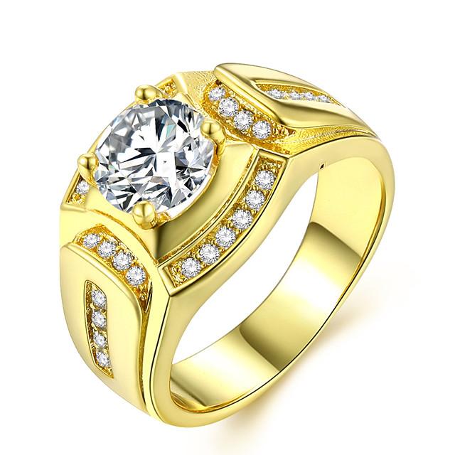 خاتم متعدد الطبقات ذهبي نحاس تقليد الماس 24K Gold Plated ثمين سيدات ترف كلاسيكي 1PC 7 8 9 10 11 / الزوجين