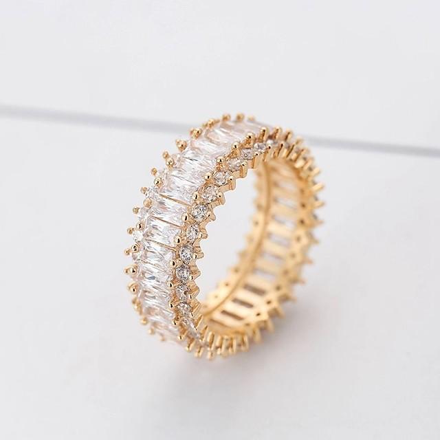 Кольцо Синтетический алмаз Лассо Золотой Серебряный Медь Дамы Стиль Классика 1шт 6 7 8 9 / Жен.
