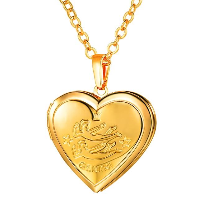 Collier Pendentif Femme Long Zodiaque Gravé Médaillon Cœur dames Romantique Mode Heart Dorée Argent 55 cm Colliers Tendance Bijoux 1pc pour Cadeau Quotidien