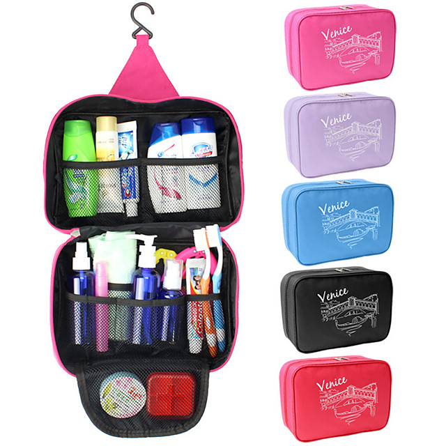 1pc Travel Bag Travel Organizer Cosmetic Bag Large Capacity Waterproof Moistureproof Foldable Travel Fabric Solid Colored Gift For 25*17*8.5 cm / Durable