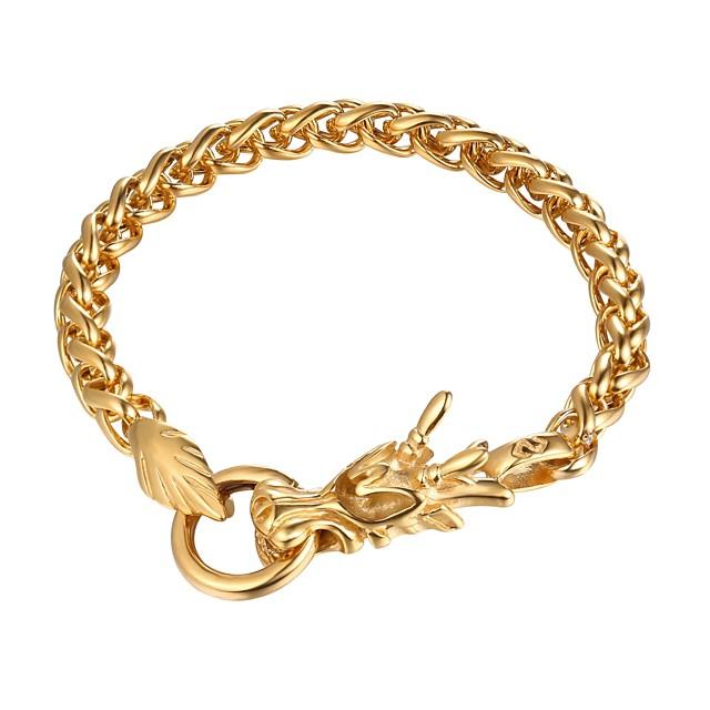 رجالي أسورة ربط سلسلة تنين موضة الفولاذ المقاوم للصدأ مجوهرات سوار أسود / ذهبي / فضي من أجل هدية مناسب للبس اليومي