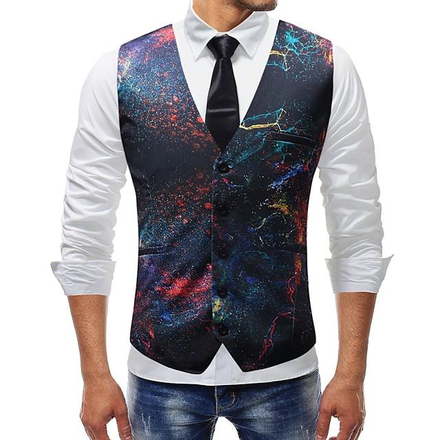 رجالي V رقبة Vest عادية ألوان متناوبة قوس قزح مناسب للبس اليومي أساسي قياس كبير بدون كم التقزح اللوني M / L / XL / نحيل