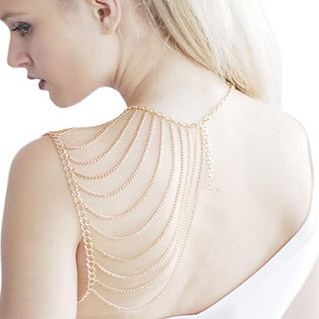 سلسلة الجسم / سلسلة البطن قلادة الكتف موضة نسائي مجوهرات الجسم  من أجل مناسب للعطلات نادي ستايل سبيكة ذهبي فضي 1PC