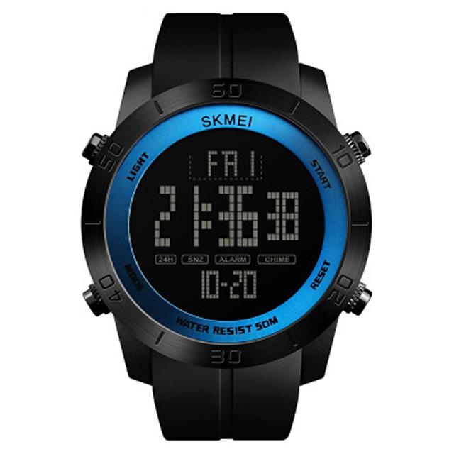SKMEI رجالي ساعة رياضية ساعة رقمية رقمي ترف مقاوم للماء رقمي أزرق / أسود أسود أحمر / جلد اصطناعي / رزنامه / ساعة التوقف / قضية