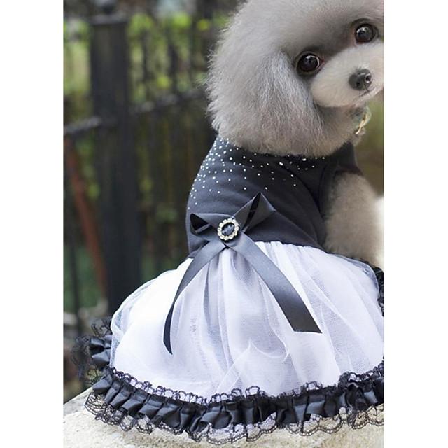 كلاب قطط حيوانات أليفة الفساتين ملابس الجرو الكريستال / حجر الراين أميرة ستايل رياضي فساتين & تنورات ملابس الكلاب ملابس الجرو ملابس الكلب أسود كوستيوم للفتاة والفتى الكلب جاكار القطن قطن XS S M L XL