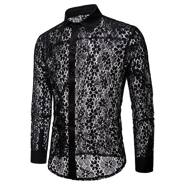 رجالي لون سادة قميص دانتيل مقصوص شبكة كم طويل مناسب للحفلات قمم أساسي مثيرة أبيض أسود / نادي