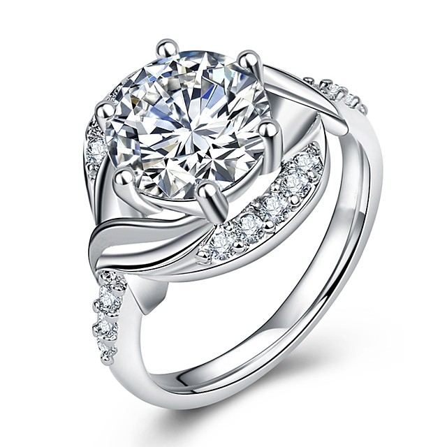 خاتم البيان متعدد الطبقات فضي نحاس مطلي بالبلاتينيوم تقليد الماس عيون كرة سيدات ترف رومانسي 1PC 5 6 7 8 9 / نسائي