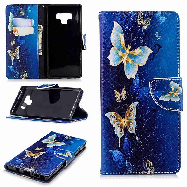 غطاء من أجل Samsung Galaxy Note 9 / Note 8 محفظة / حامل البطاقات / مع حامل غطاء كامل للجسم فراشة قاسي جلد PU