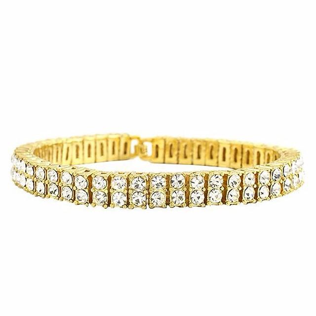 Bracelets Tennis Rivière de Diamants Homme Rivière de Diamants Zircon Strass Créatif Punk Européen Dubai Glacé Bracelet Bijoux Dorée Noir Argent Forme de Cercle pour Mariage Mascarade Soirée de