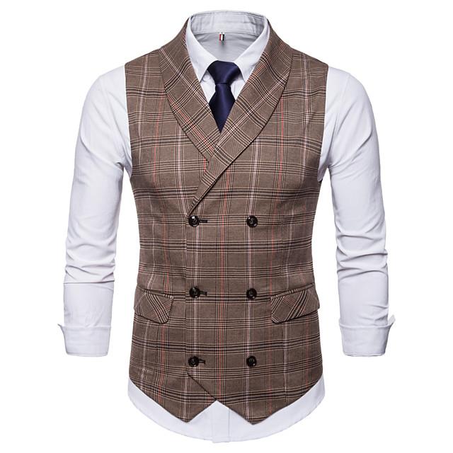 Marron / Gris Tartan Mince Coton / Polyester Pour des hommes Costume - Revers Cranté / Entreprise / Automne / Hiver / Sans Manches / Travail
