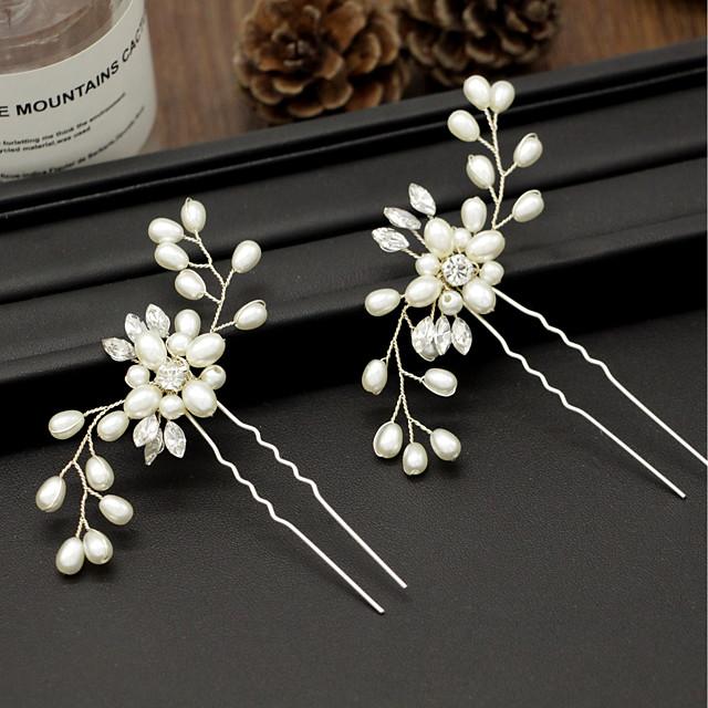 Pentru femei Bețe de Păr Pentru Petrecere Ceremonie În Cruce Cristal Material Textil Aliaj Auriu Argintiu