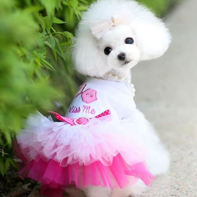كلاب قطط حيوانات أليفة الفساتين ملابس الجرو قلب الحب شفاه ستايل رياضي فساتين & تنورات ملابس الكلاب ملابس الجرو ملابس الكلب أزرق زهري كوستيوم للفتاة والفتى الكلب جاكار القطن قطن XS S M L XL XXL