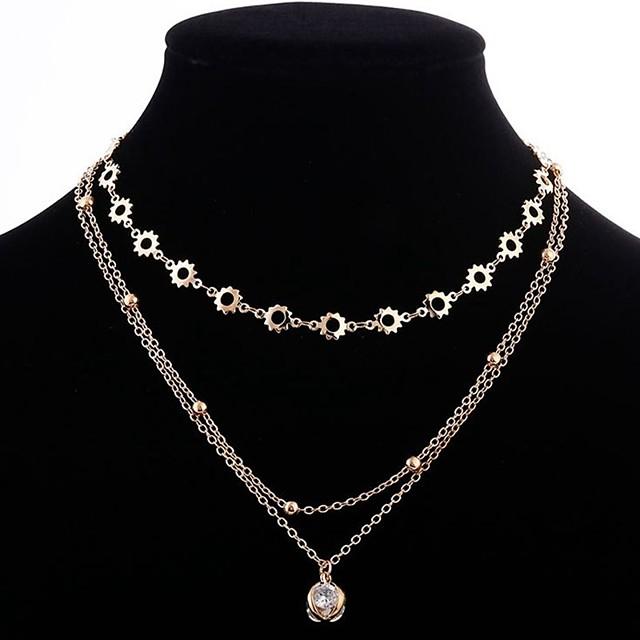 نسائي مكعب زركونيا القلائد الطبقات متعدد الطبقات سيدات أنيق كلاسيكي نحاس ذهبي 32+10 cm قلادة مجوهرات 1PC من أجل مناسب للبس اليومي
