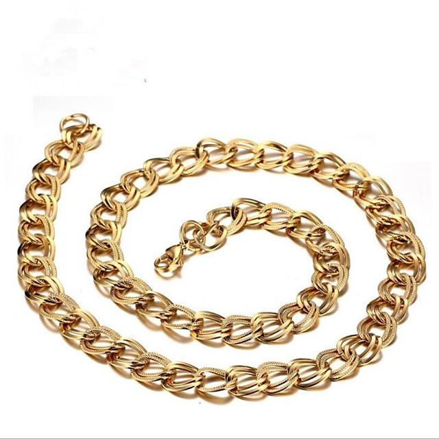 رجالي عقد ستايل سلسلة الثعلب سلسلة مارينر خلاق موضة الصلب التيتانيوم ذهبي + فضي ذهبي فضي 55 cm قلادة مجوهرات 1PC من أجل هدية مناسب للبس اليومي
