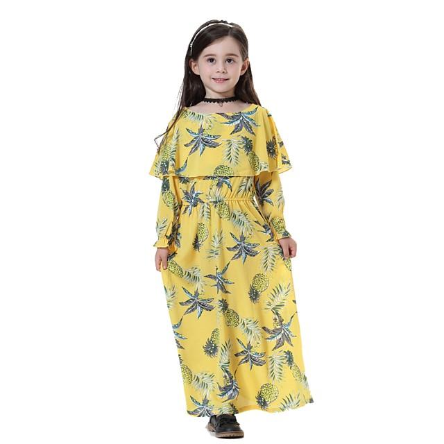 Enfants Fille Doux Bohème Quotidien Sortie Plage Ananas Fruit Manches Longues Midi Polyester Robe Jaune