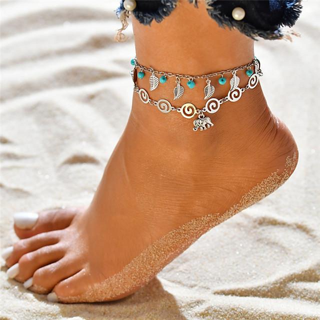 Bracelet de cheville dames Pendant Bohème Femme Bijoux de Corps Pour Vacances Sortie Multirang Yoga Turquoise Alliage Eléphant Forme de Feuille Argent 1pc