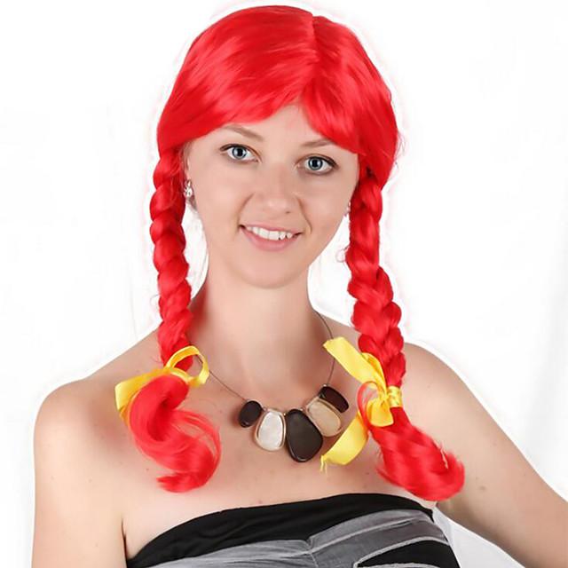 Perruque de cosplay Perruque Synthétique Perruques de Déguisement Bouclé Tressage Perruque Long Rouge Cheveux Synthétiques 24 pouce Femme Cosplay Cheveux Tressés Rouge
