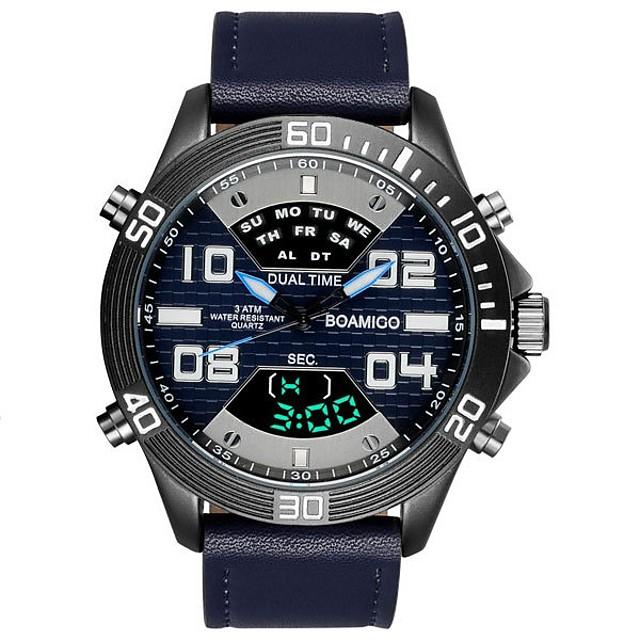 رجالي ساعة رياضية ساعة رقمية رقمي ترف مقاوم للماء تناظري-رقمي أسود أزرق رمادي / سنتان / جلد طبيعي / ياباني / رزنامه / الكرونوغراف