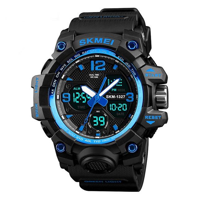SKMEI رجالي ساعة رياضية ساعة رقمية رقمي كاجوال مقاوم للماء رقمي أسود أحمر أزرق / جلد اصطناعي / رزنامه / الكرونوغراف / ساعة التوقف