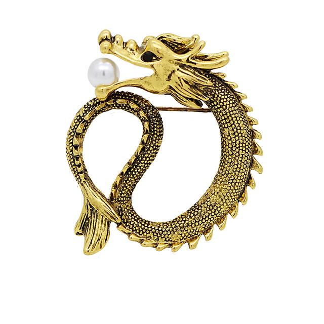 Homme Zircon Perle d'eau douce Broche Le style rétro Tendance Dragon Créatif Gros Fantaisie Hip-Hop Chinoiserie Perle Broche Bijoux Dorée Argent Pour Quotidien Travail