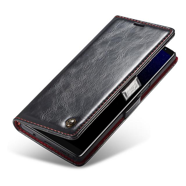 Coque Pour Samsung Galaxy Note 9 Portefeuille / Porte Carte / Avec Support Coque Intégrale Couleur Pleine Dur Cuir véritable