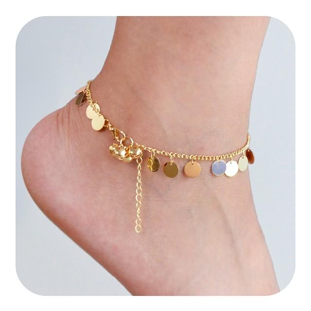 Bracelet de cheville bijoux de pieds dames simple Basique Femme Bijoux de Corps Pour Cadeau Cérémonie Tendance Alliage Chanceux Dorée 1pc