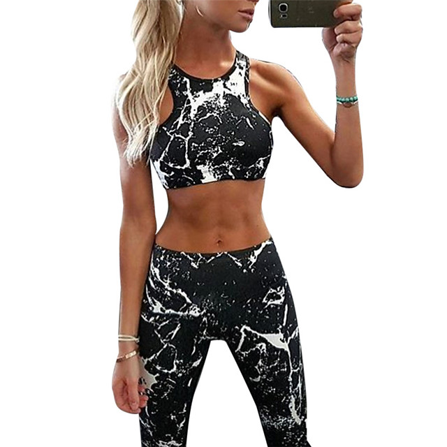 Femme 2pcs Costume de yoga Mode Noir Yoga Fitness Course Running Taille haute Collants Brassière Ensembles de Sport Sans Manches Sport Tenues de Sport Poids Léger Respirable Séchage rapide Power Flex