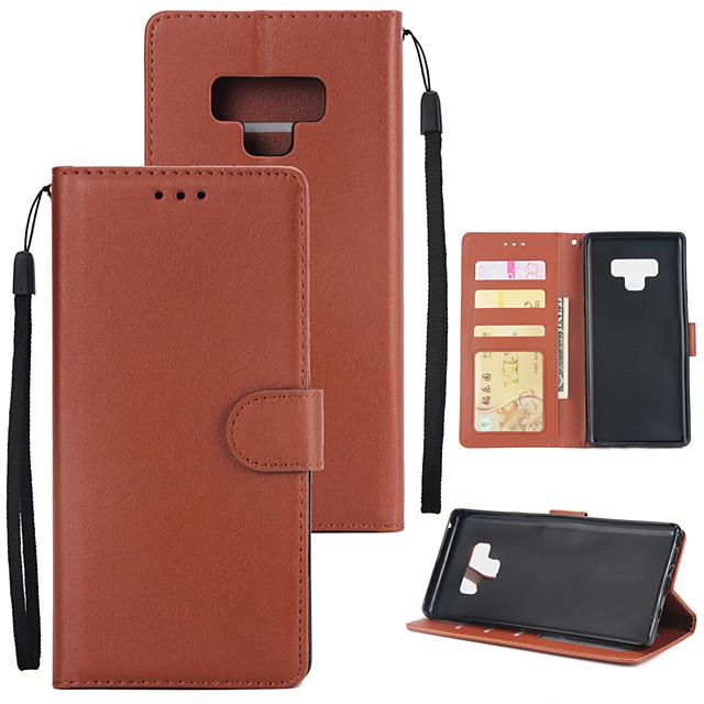 غطاء من أجل Samsung Galaxy Note 9 / Note 8 محفظة / حامل البطاقات / مع حامل غطاء كامل للجسم لون سادة قاسي جلد PU