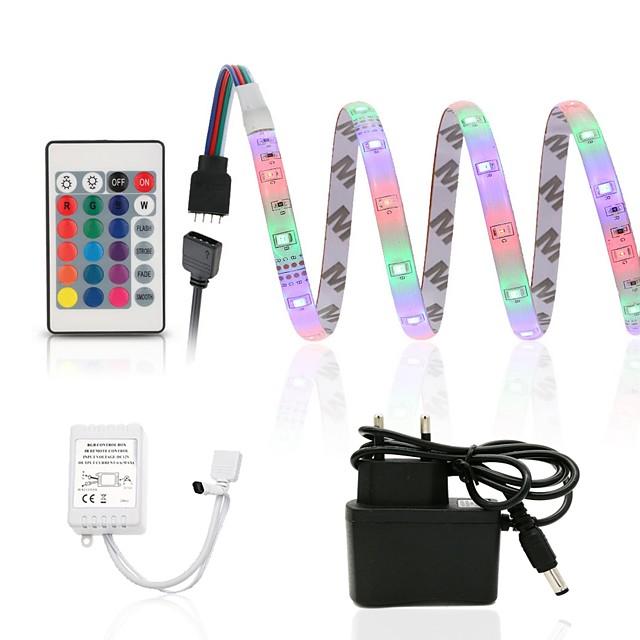 ZDM® 2.5M مجموعات ضوء 150 المصابيح SMD2835 8mm 1 24 مفاتيح تحكم عن 1 × 12V / 1A محول 1SET RGB ضد الماء قابل للقص ديكور 100-240 V / IP65 / اللصق التلقي