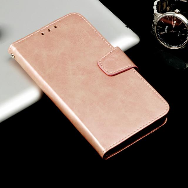 Кейс для Назначение SSamsung Galaxy A3 (2017) / A5 (2017) / A8 2018 Кошелек / Бумажник для карт / Флип Чехол Однотонный Твердый Кожа PU