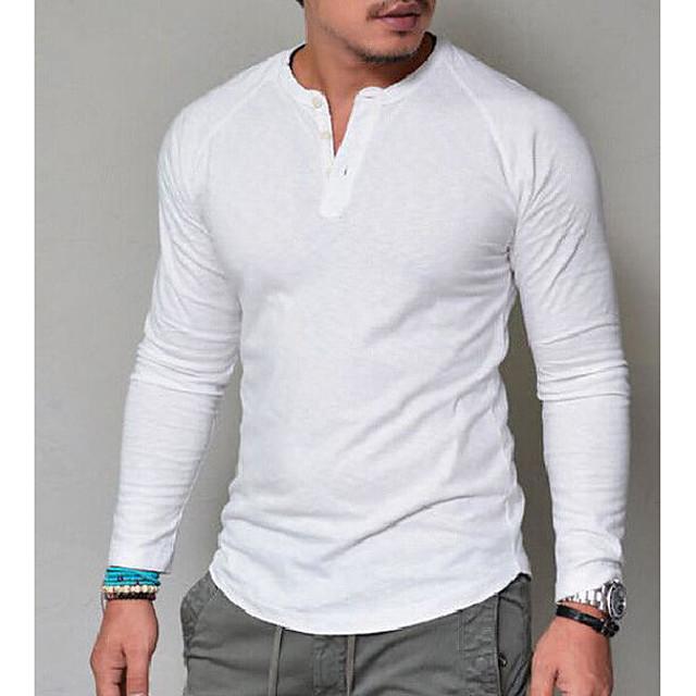 Homme T shirt Graphique Couleur Pleine Manches Longues Quotidien Hauts basique Blanche Rouge Bleu Marine