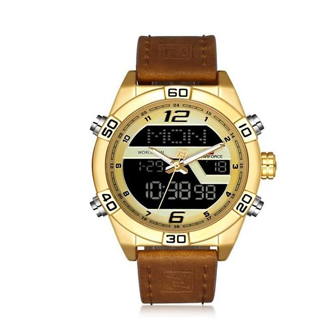NAVIFORCE Муж. Спортивные часы Армейские часы электронные часы Японский кварц Роскошь Защита от влаги Аналого-цифровые Розовое золото Черный Черный / коричневый / Один год / Натуральная кожа