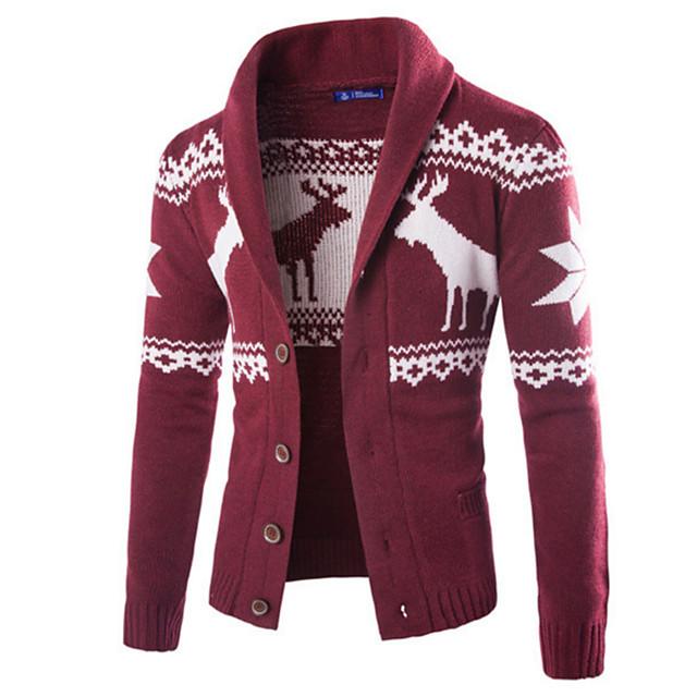 Men S Basic Geometric Cardigan Cotton Long Sleeve Plus Size Slim Regular Sweater Cardigans Turtleneck Fall Black Wine Navy Blue Christmas Christmas 6878106 2020 35 19